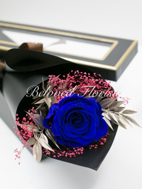 Single Blue Preserved Rose in Box