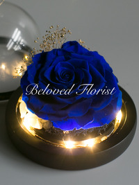 Blue Preserved Rose in Glass Dome