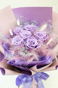6 Purple Preserved Roses Fancy Bouquet <font color=red> Limited