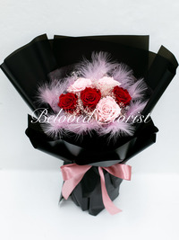 6 Red and Pink Preserved Roses Fancy Bouquet