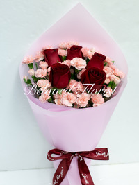 5 Red Roses + Mini Pink Carnations